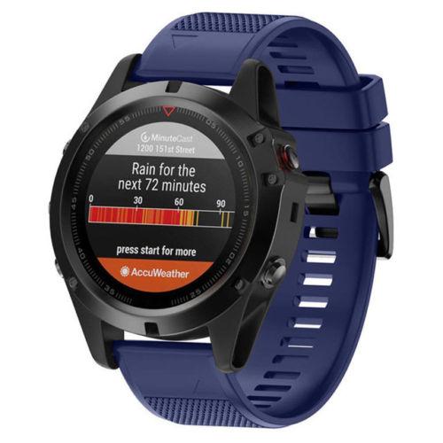 Silikonový vyměnitelný pásek / řemínek pro Garmin Approach S60 - modrý tmavý I.