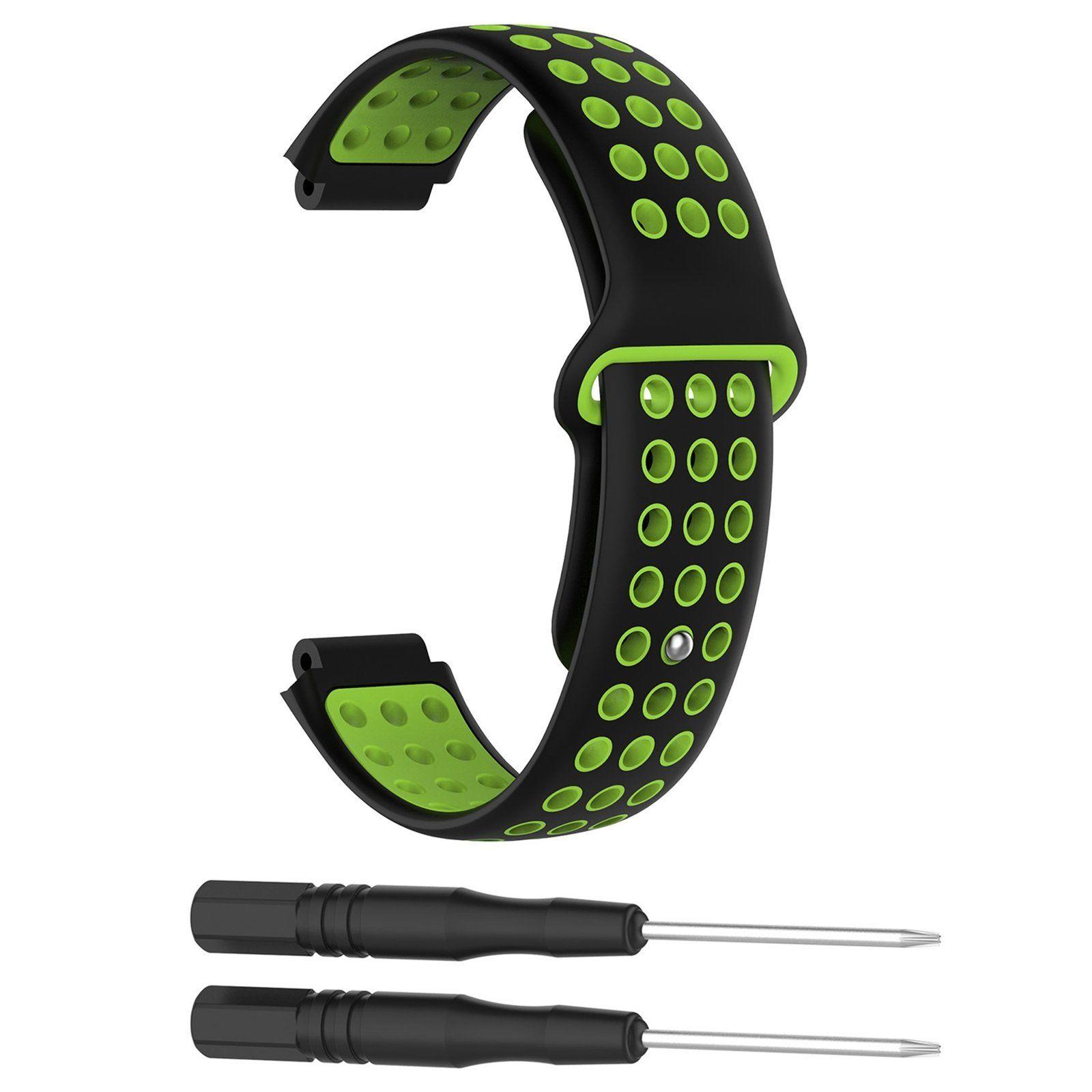 Silikonový vyměnitelný pásek / řemínek pro Garmin Forerunner 630 - černo zelený