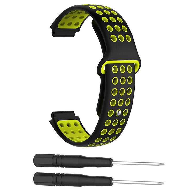 Silikonový vyměnitelný pásek / řemínek pro Garmin Forerunner 630 - černo žlutý