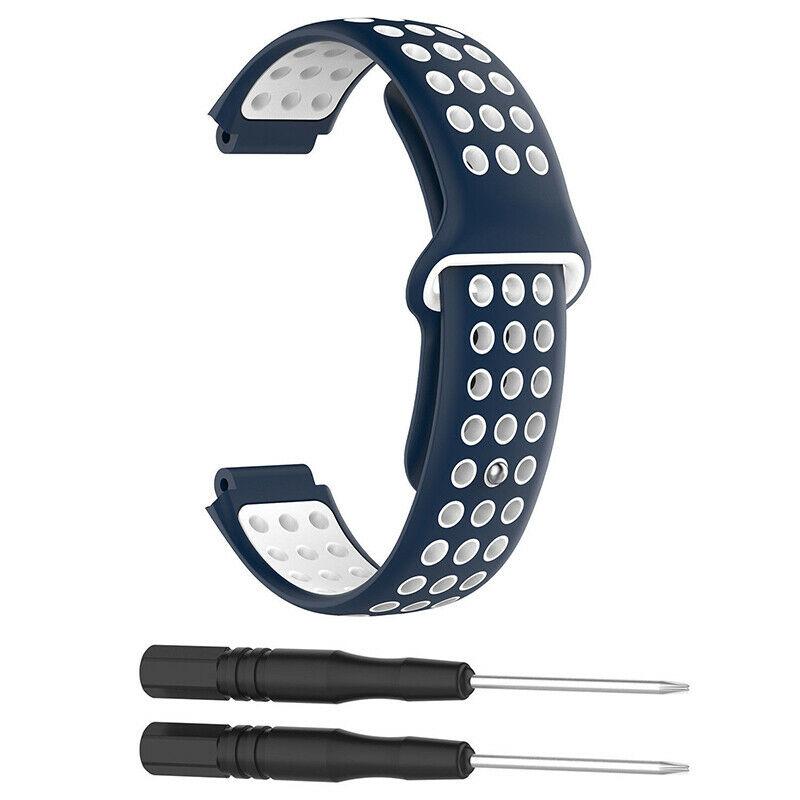 Silikonový vyměnitelný pásek / řemínek pro Garmin Forerunner 630 - modro bílý
