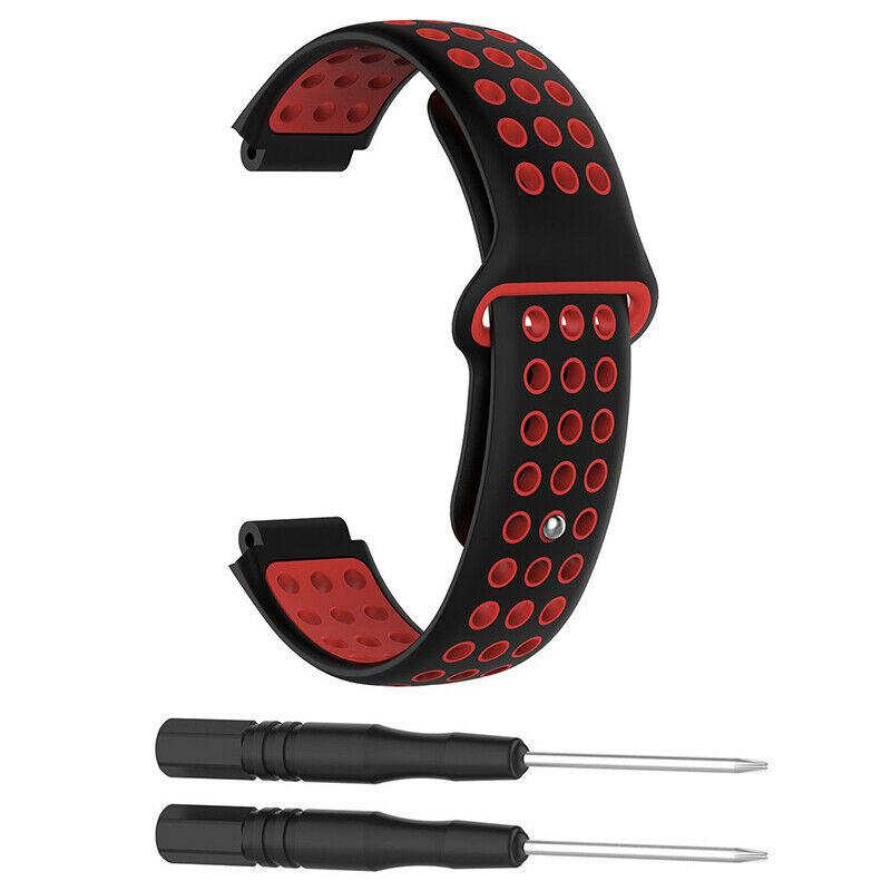 Silikonový vyměnitelný pásek / řemínek pro Garmin Approach S5 - černo červený