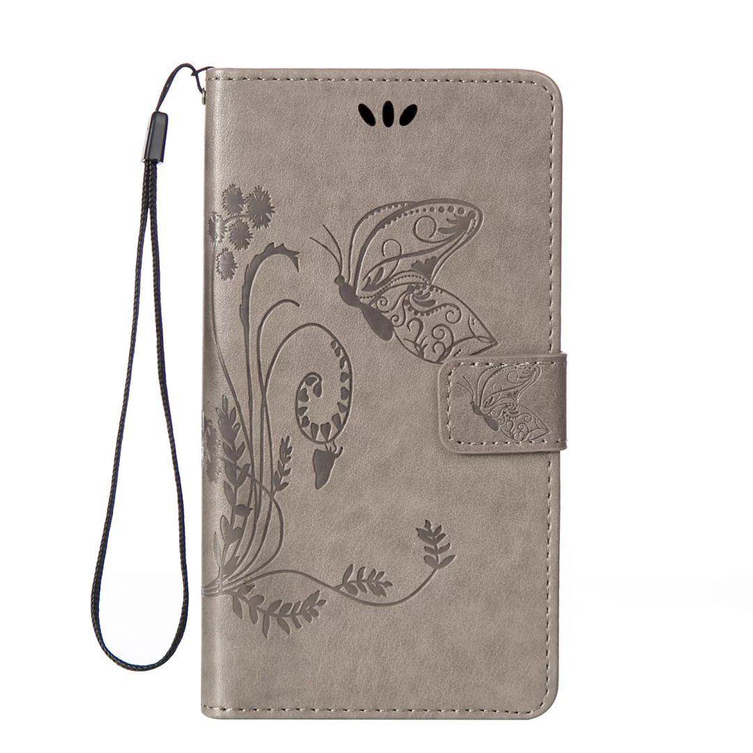 Flipové peněženkové BUTTERFLY EMBOSSED pouzdro pro Huawei P20 Lite - šedé