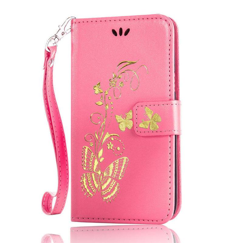 Flipové peněženkové BUTTERFLY pouzdro pro Sony Xperia M4 Aqua - růžové