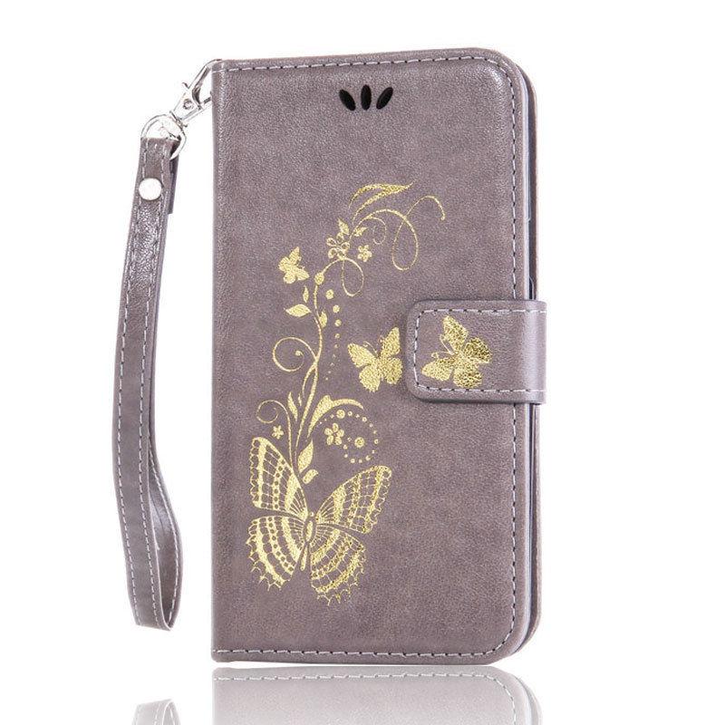 Flipové peněženkové BUTTERFLY pouzdro pro Sony Xperia M4 Aqua - šedé