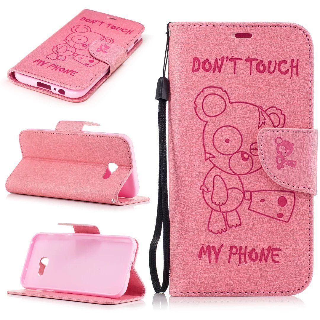 Flipové peněženkové DON'T TOUCH MY PHONE pouzdro pro Samsung Galaxy A3 2017 - růžové