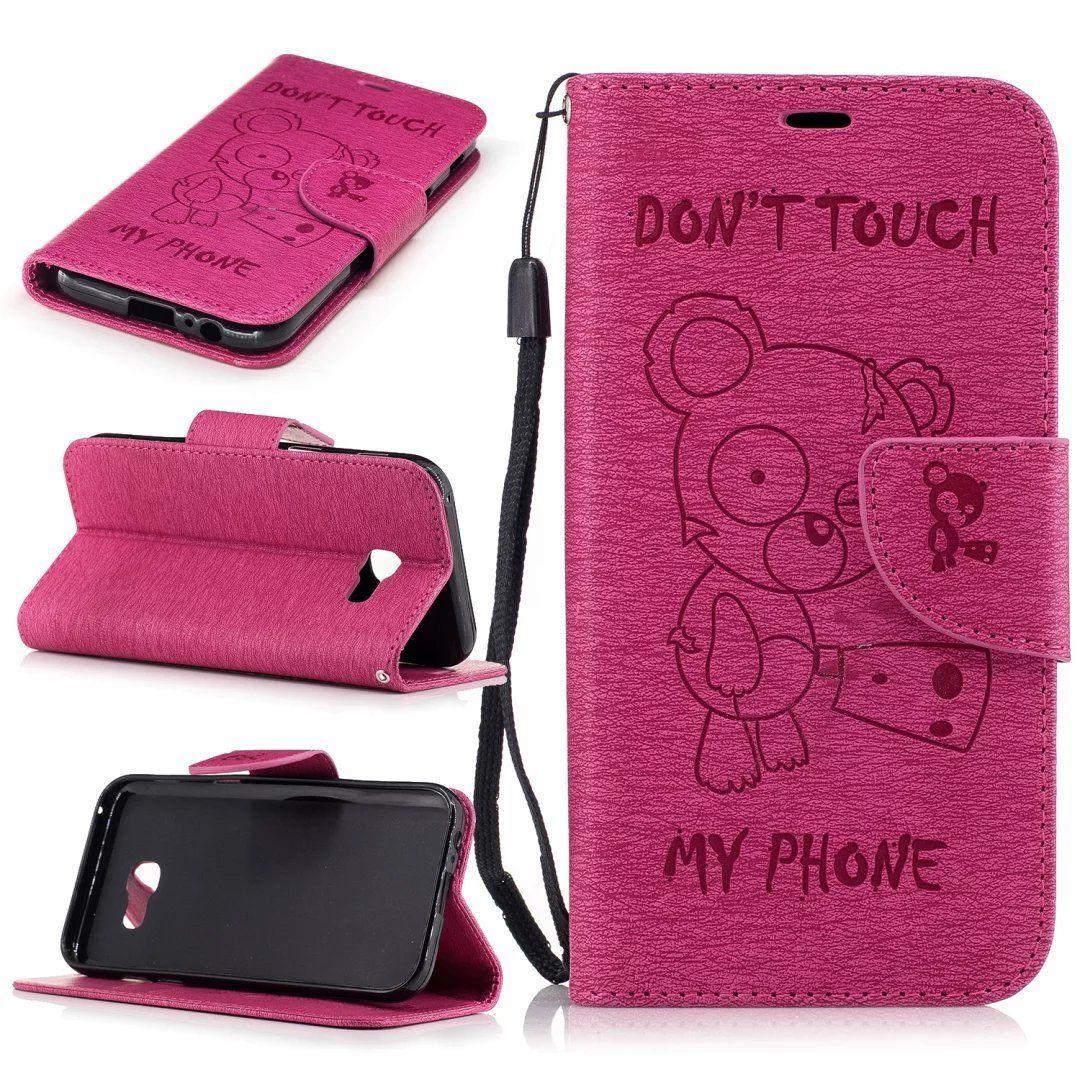 Flipové peněženkové DON'T TOUCH MY PHONE pouzdro pro Samsung Galaxy A3 2017 - růžové tmavé