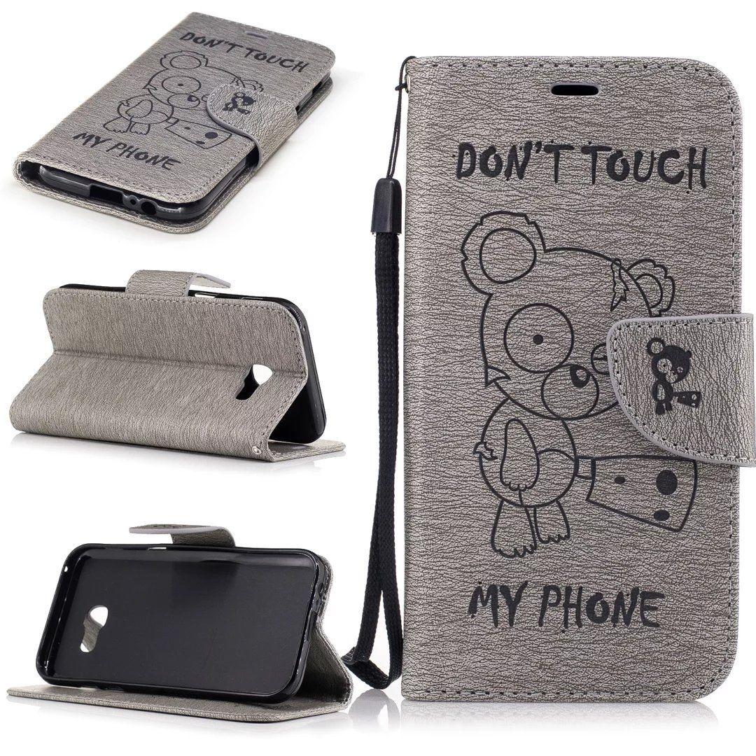 Flipové peněženkové DON'T TOUCH MY PHONE pouzdro pro Samsung Galaxy A3 2017 - šedé