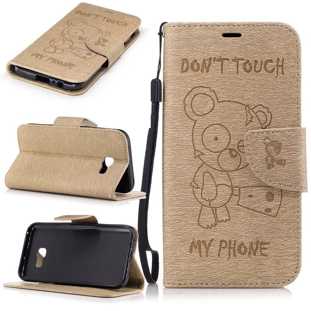 Flipové peněženkové DON'T TOUCH MY PHONE pouzdro pro Samsung Galaxy A3 2017 - zlaté