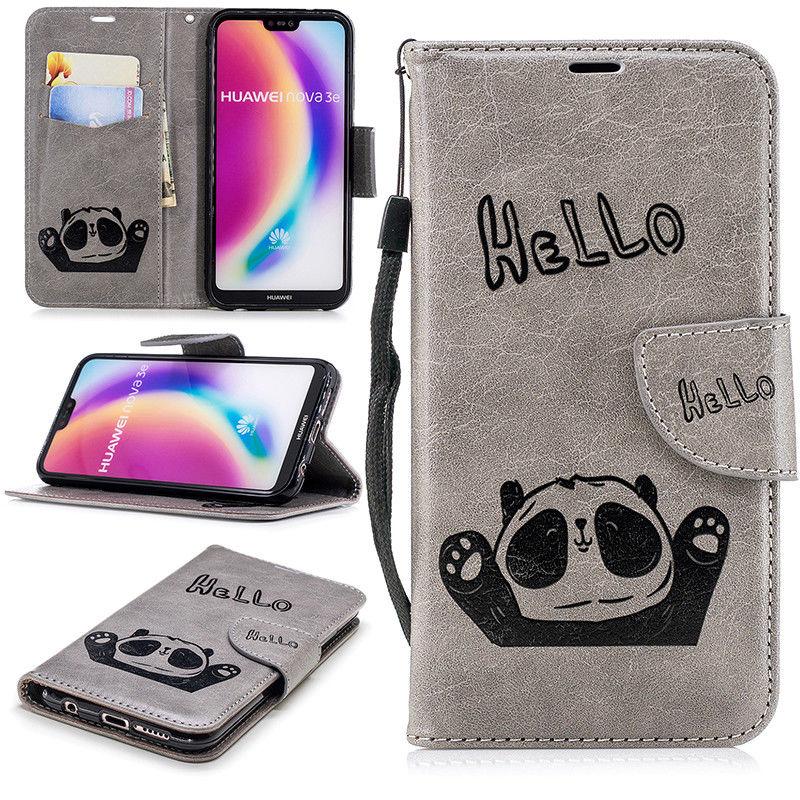 Flipové peněženkové PANDA pouzdro peněženka pro Huawei P20 - šedé