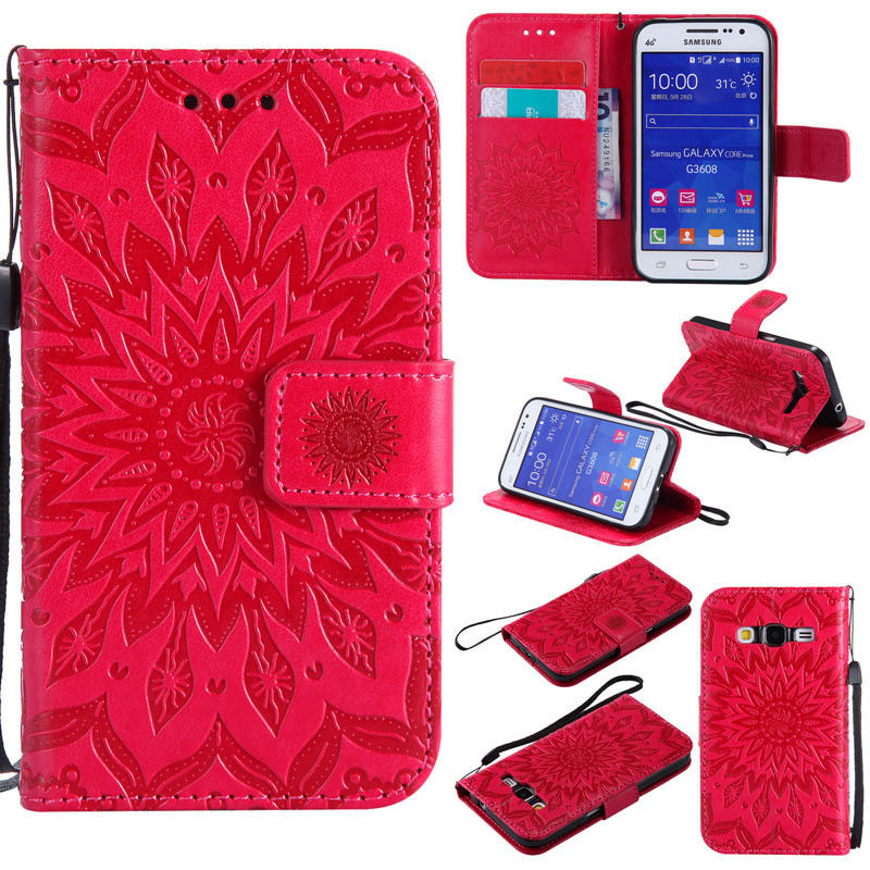 Flipové peněženkové SUNFLOWER pouzdro pro Samsung Galaxy Core Prime (G360) - červené