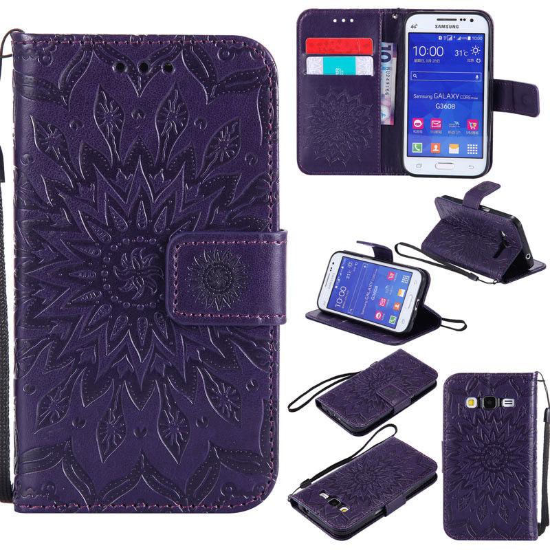 Flipové peněženkové SUNFLOWER pouzdro pro Samsung Galaxy Core Prime (G360) - fialové