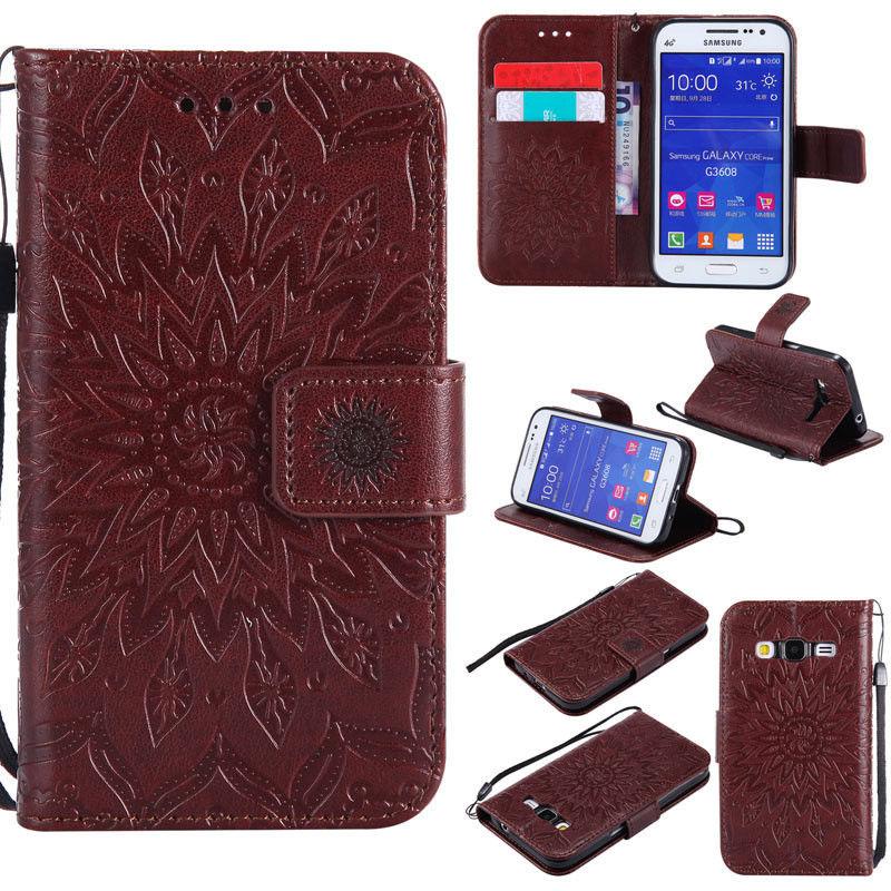 Flipové peněženkové SUNFLOWER pouzdro pro Samsung Galaxy Core Prime (G360) - hnědé