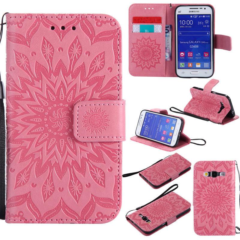 Flipové peněženkové SUNFLOWER pouzdro pro Samsung Galaxy Core Prime (G360) - růžové