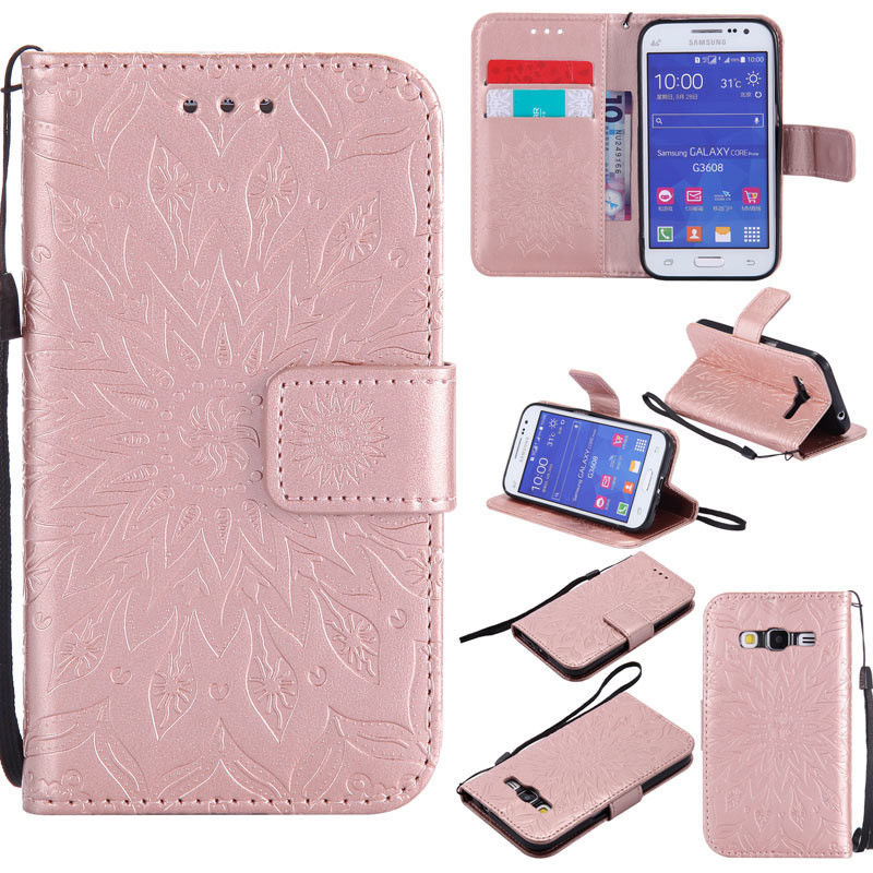 Flipové peněženkové SUNFLOWER pouzdro pro Samsung Galaxy Core Prime (G360) - růžové světlé