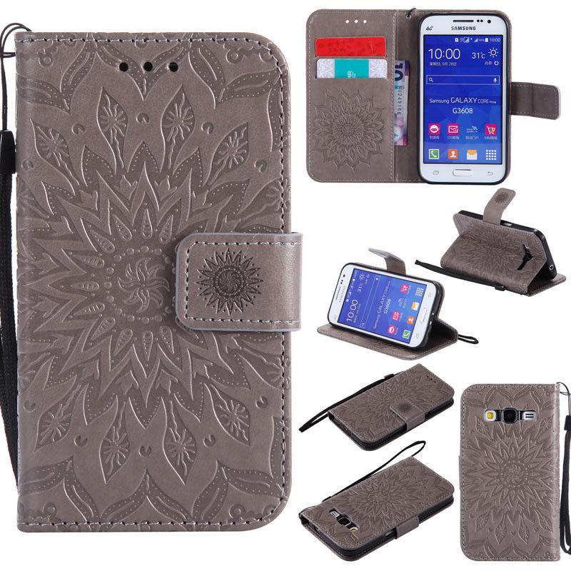 Flipové peněženkové SUNFLOWER pouzdro pro Samsung Galaxy Core Prime (G360) - šedé