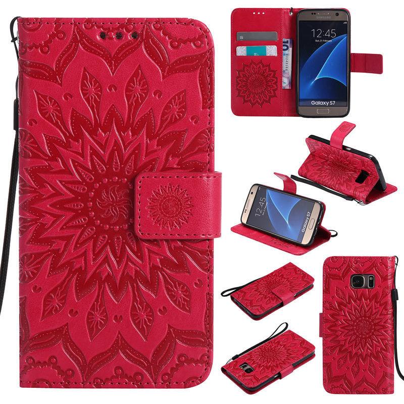 Flipové peněženkové SUNFLOWER pouzdro pro Samsung Galaxy S6 Edge+ (SVI G928F) - červené