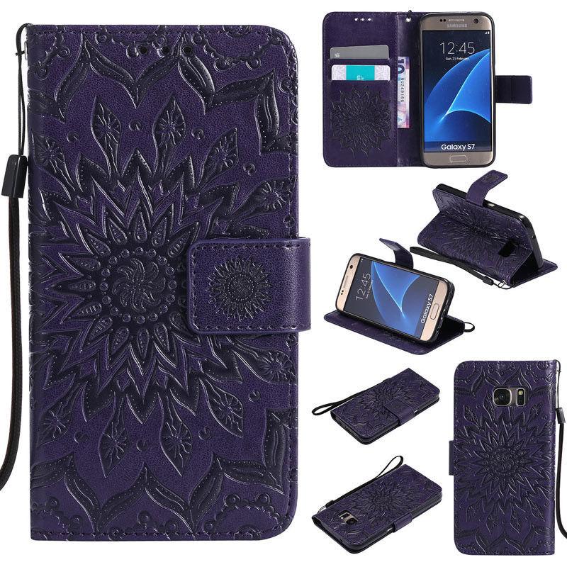 Flipové peněženkové SUNFLOWER pouzdro pro Samsung Galaxy S6 Edge+ (SVI G928F) - fialové