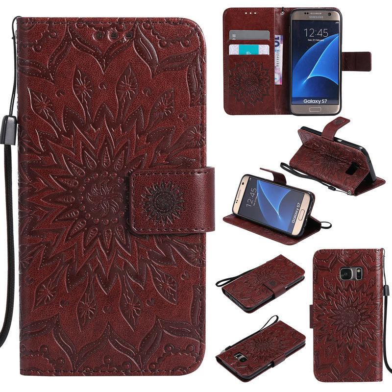 Flipové peněženkové SUNFLOWER pouzdro pro Samsung Galaxy S6 Edge+ (SVI G928F) - hnědé