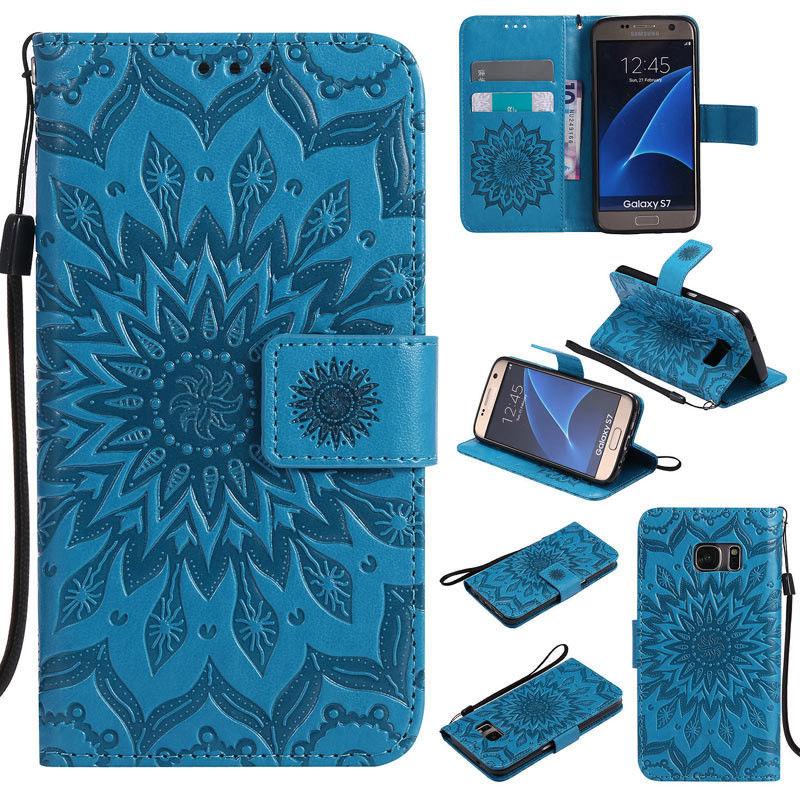 Flipové peněženkové SUNFLOWER pouzdro pro Samsung Galaxy S6 Edge+ (SVI G928F) - modré