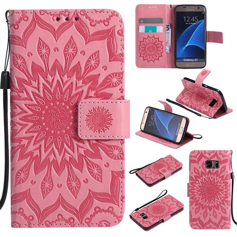 Flipové peněženkové SUNFLOWER pouzdro pro Samsung Galaxy S6 Edge+ (SVI G928F) - růžové