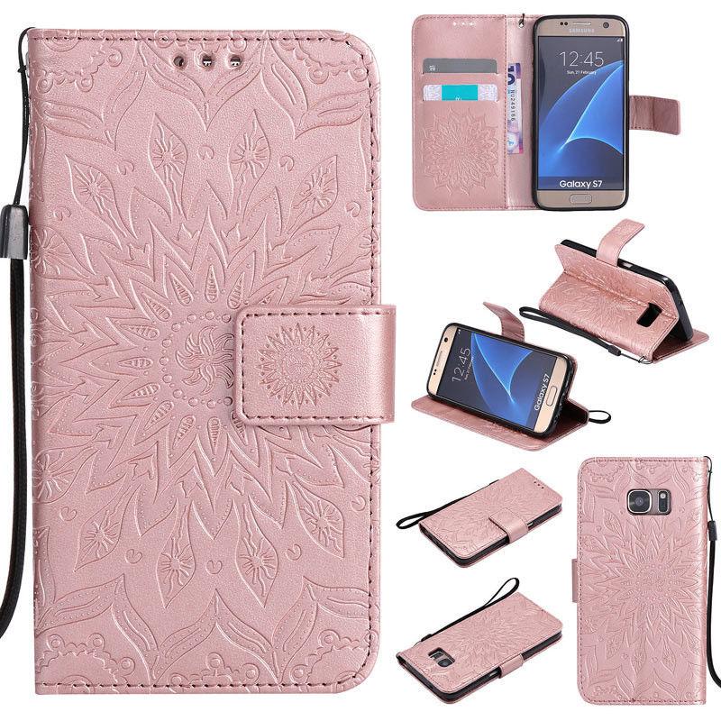 Flipové peněženkové SUNFLOWER pouzdro pro Samsung Galaxy S6 Edge+ (SVI G928F) - růžové světl