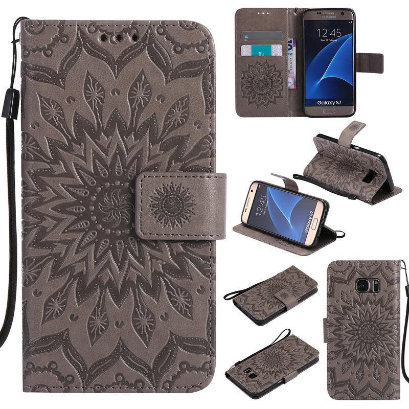 Flipové peněženkové SUNFLOWER pouzdro pro Samsung Galaxy S6 Edge+ (SVI G928F) - šedé