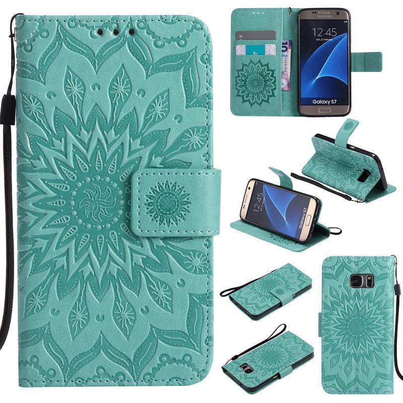 Flipové peněženkové SUNFLOWER pouzdro pro Samsung Galaxy S6 Edge+ (SVI G928F) - zelené