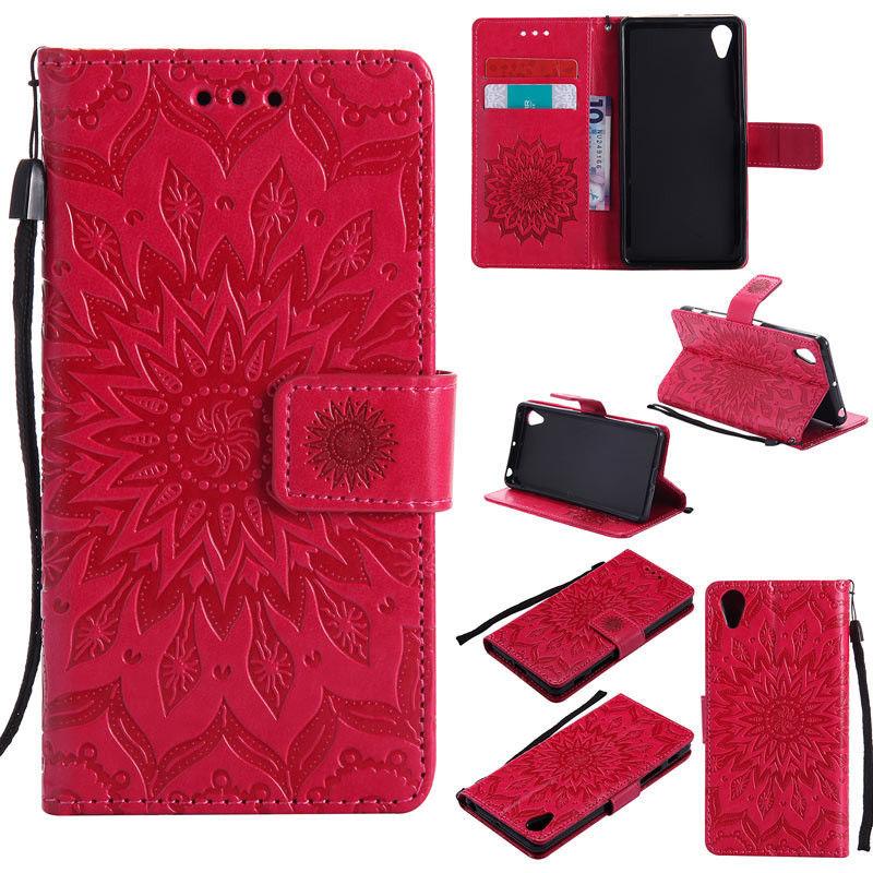 Flipové peněženkové SUNFLOWER pouzdro pro Sony Xperia M4 Aqua - červené