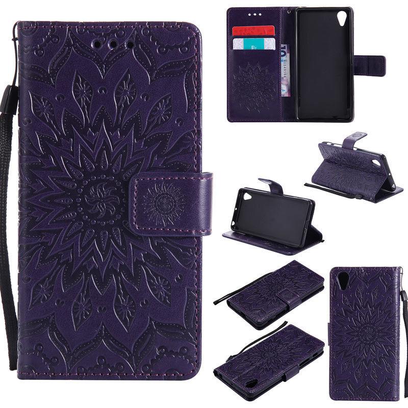 Flipové peněženkové SUNFLOWER pouzdro pro Sony Xperia M4 Aqua - fialové