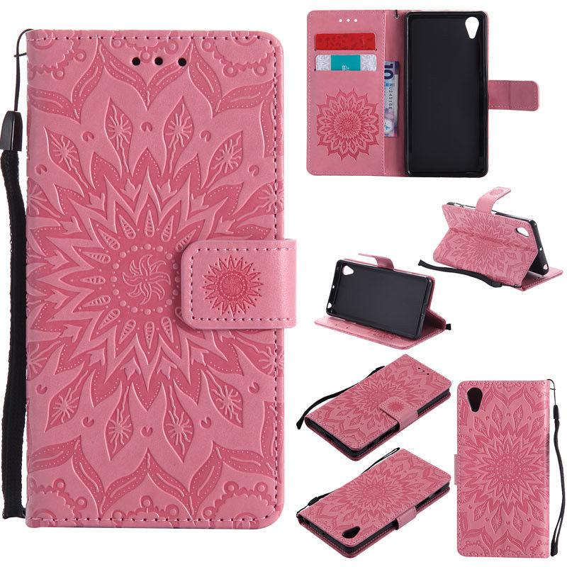 Flipové peněženkové SUNFLOWER pouzdro pro Sony Xperia M4 Aqua - růžové