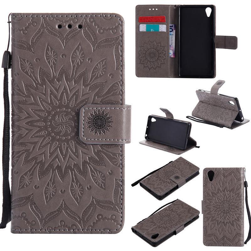 Flipové peněženkové SUNFLOWER pouzdro pro Sony Xperia M4 Aqua - šedé