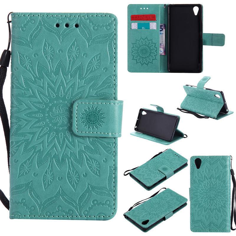 Flipové peněženkové SUNFLOWER pouzdro pro Sony Xperia M4 Aqua - zelené