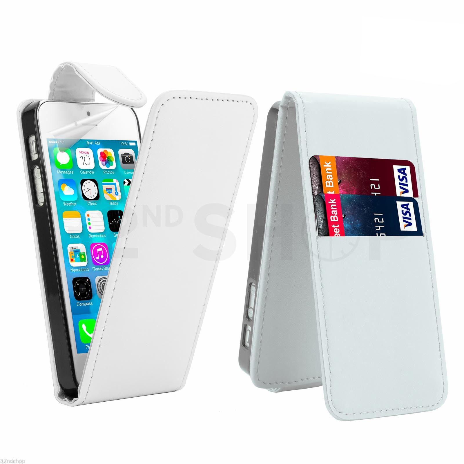 Flipové vertical pouzdro pro Apple iPhone 5 / 5S / SE - bílé