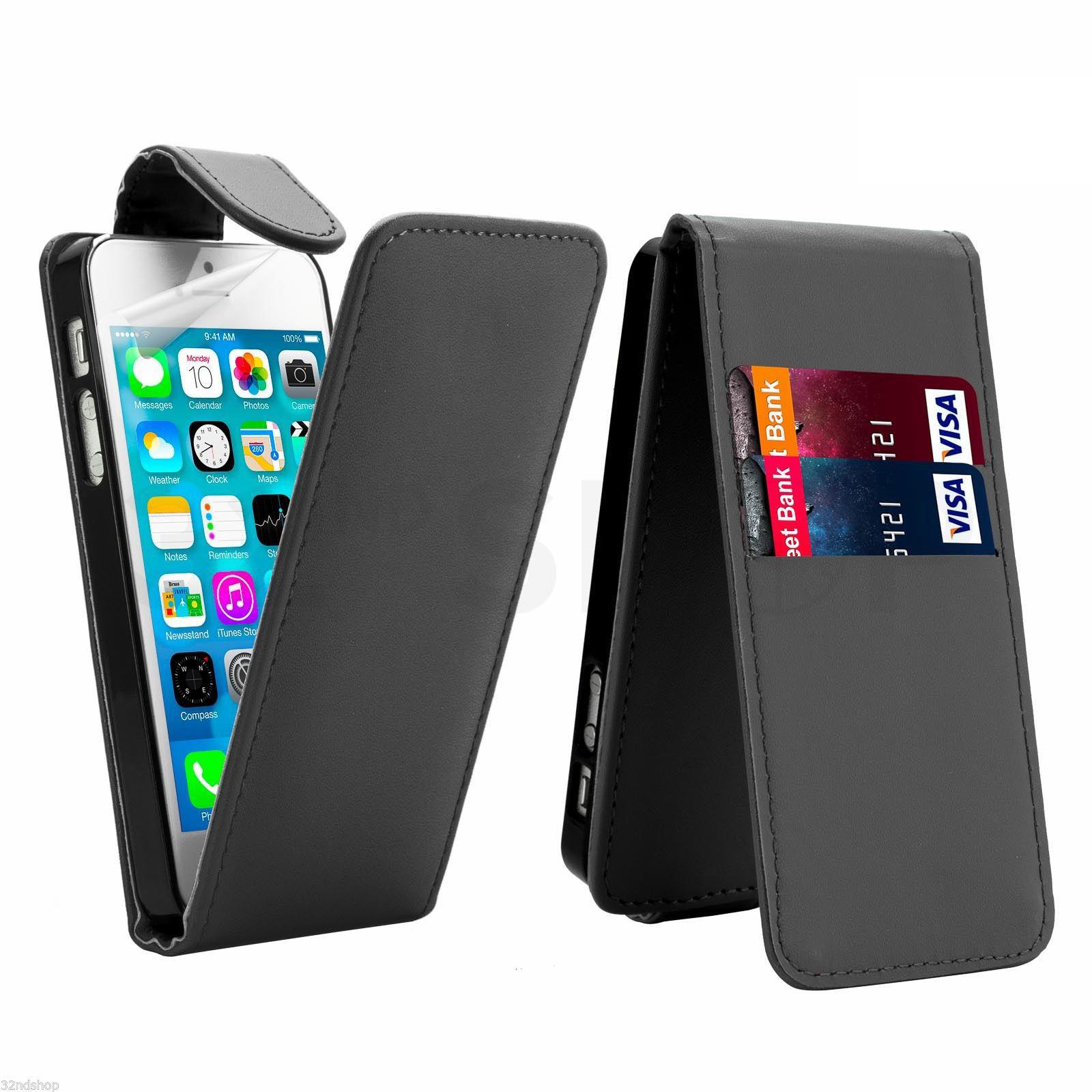 Flipové vertical pouzdro pro Apple iPhone 5 / 5S / SE - černé