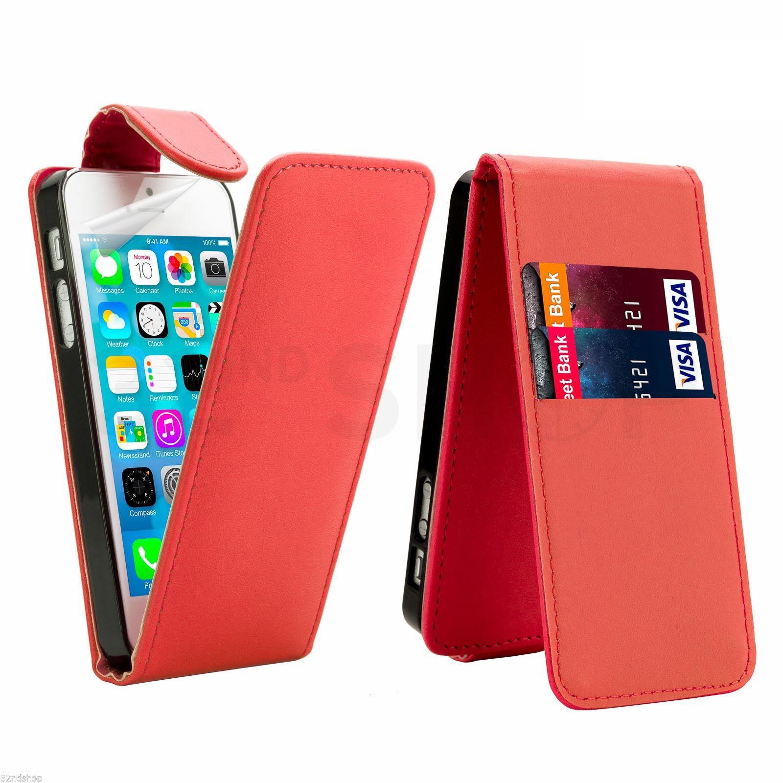 Flipové vertical pouzdro pro Apple iPhone 5 / 5S / SE - červené