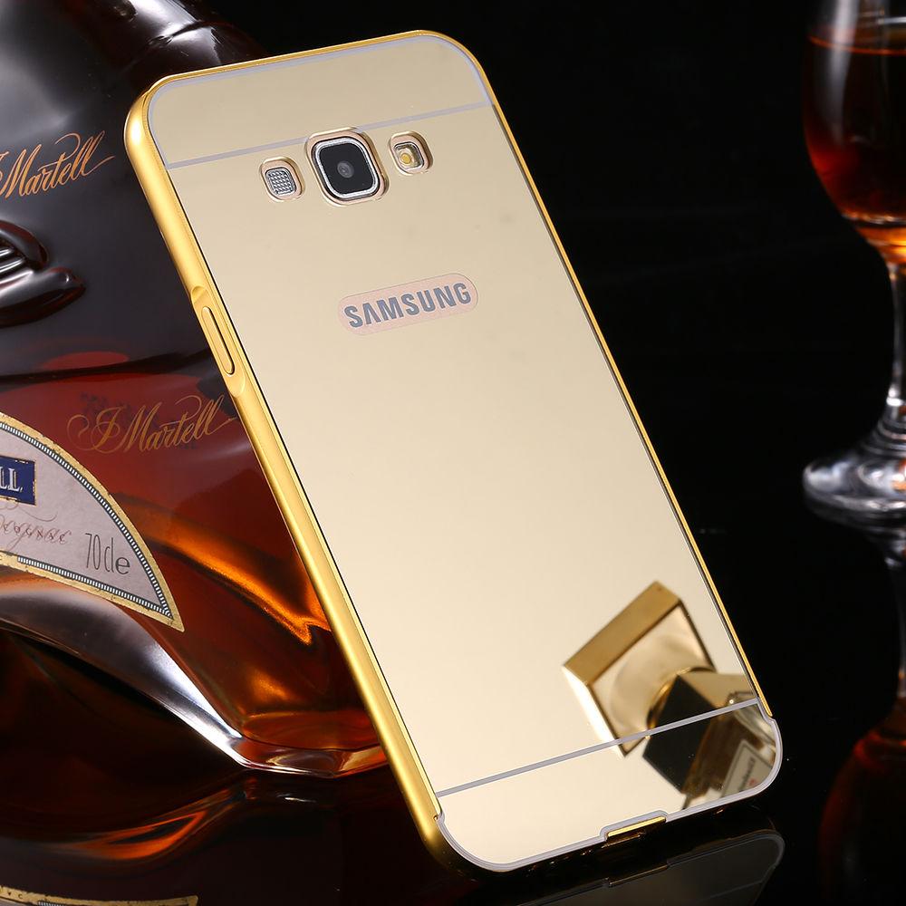 Luxusní kovové zrcadlové pouzdro pro Samsung Galaxy S6 Edge+ (SVI G928F) - zlaté