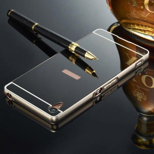 Luxusní kovové zrcadlové pouzdro pro Sony Xperia M4 Aqua - černé