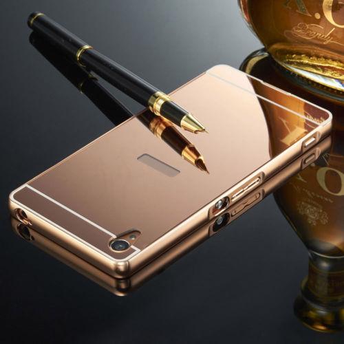 Luxusní kovové zrcadlové pouzdro pro Sony Xperia M4 Aqua - růžové