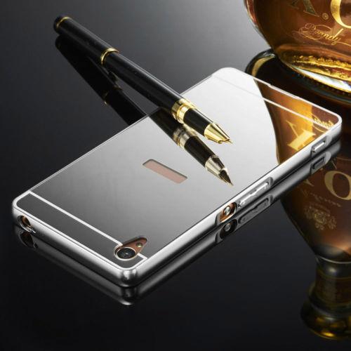 Luxusní kovové zrcadlové pouzdro pro Sony Xperia M4 Aqua - stříbrné