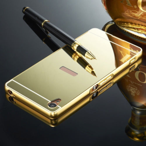 Luxusní kovové zrcadlové pouzdro pro Sony Xperia M4 Aqua - zlaté