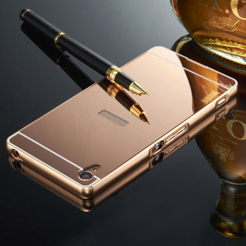 Luxusní kovové zrcadlové pouzdro pro Sony Xperia Z5 - růžové