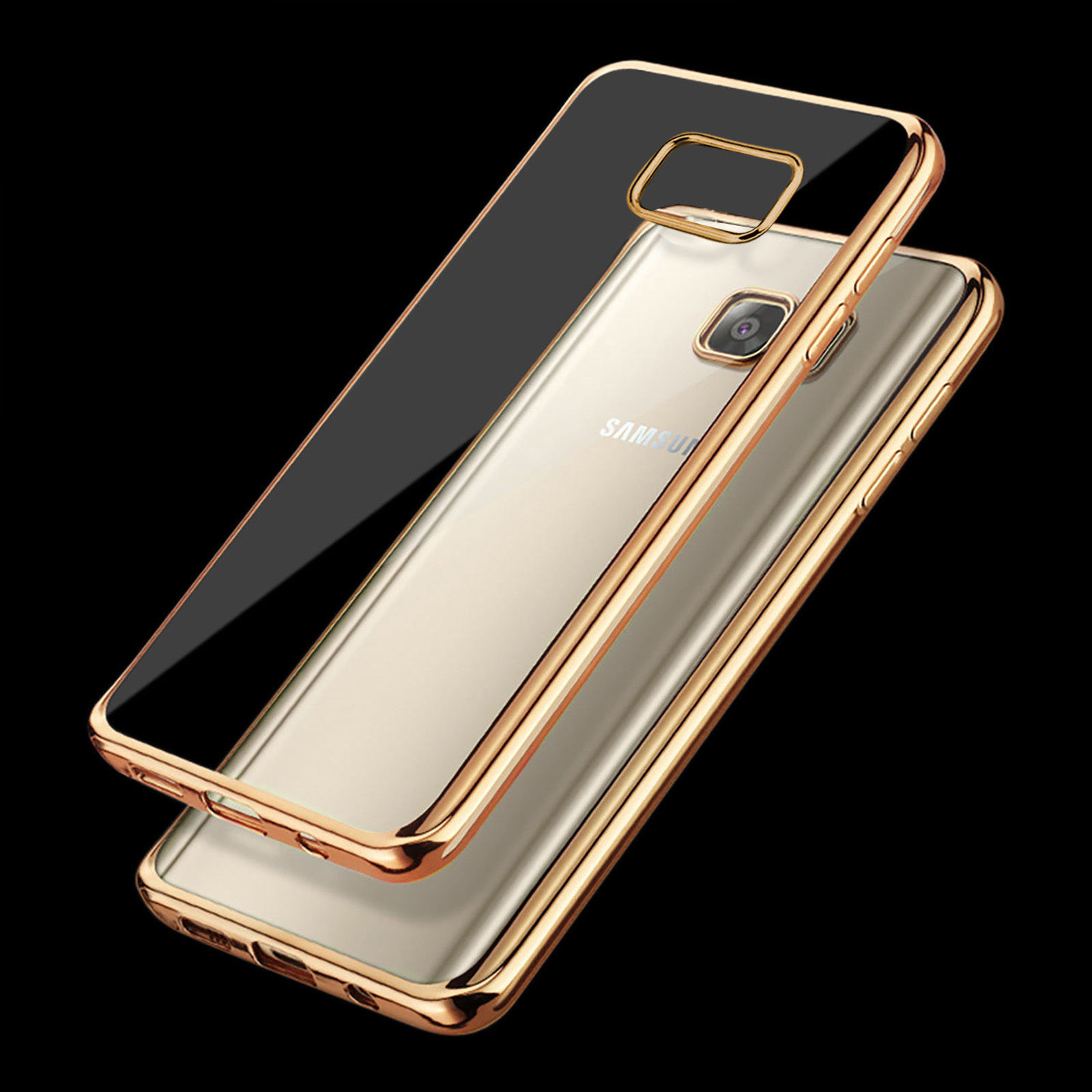Ultra tenké gelové pouzdro s designovým rámečkem pro Samsung Galaxy S6 Edge+ (SVI G928F) - zlat