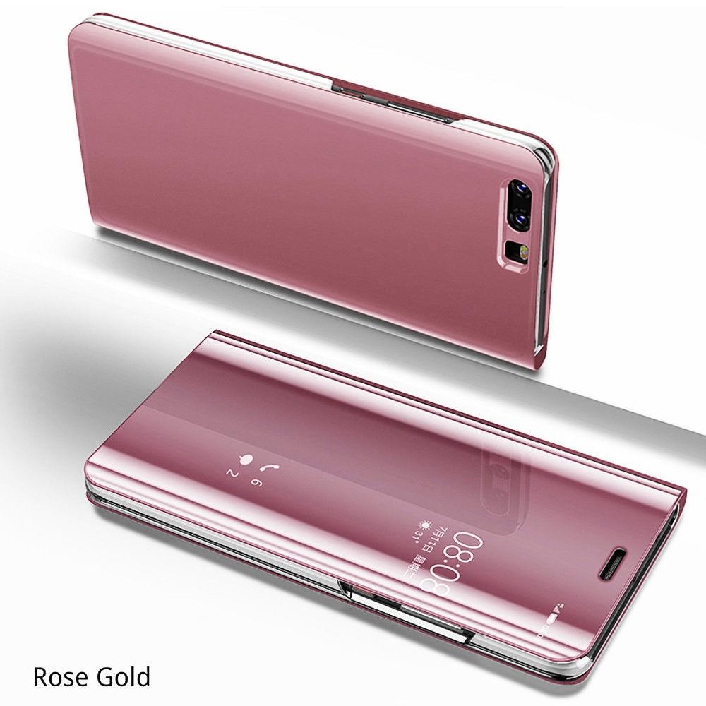 Zrcadlové flipové peněženkové pouzdro MIRROR pro Huawei P20 Lite - růžové