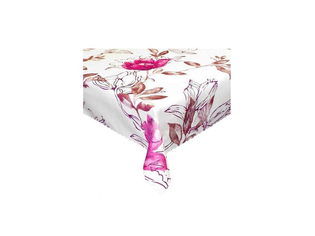 Ubrus s nešpinivou úpravou, Květ růžový 140x180cm