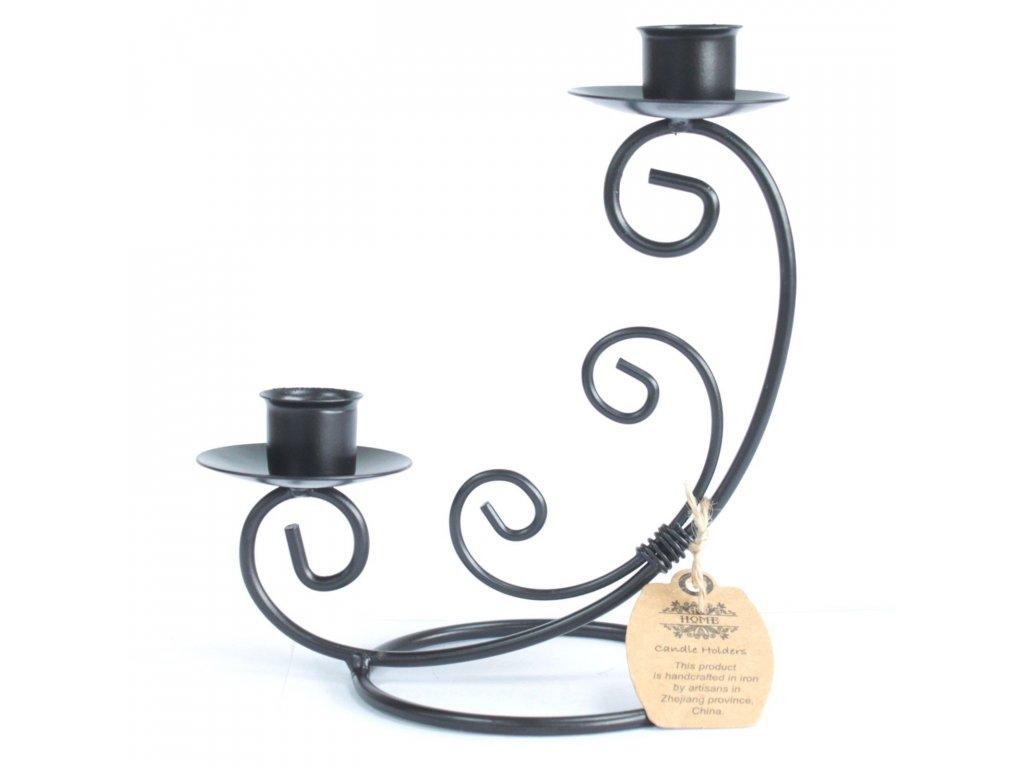 Kovový Svícen pro 2 svíčky Klasický