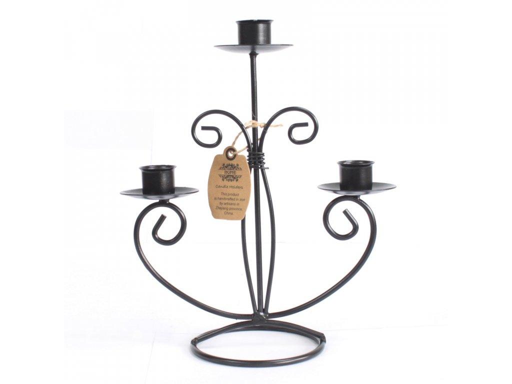 Kovový Svícen pro 3 svíčky Klasický
