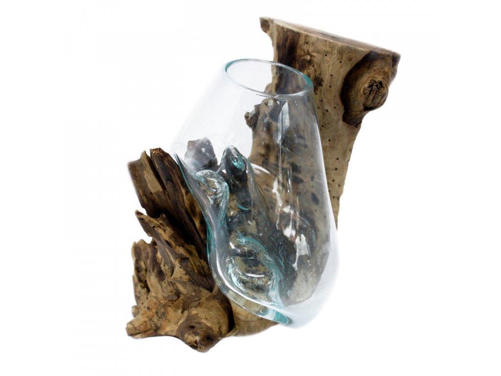 Tavené sklo na dřevě Závěsná miska