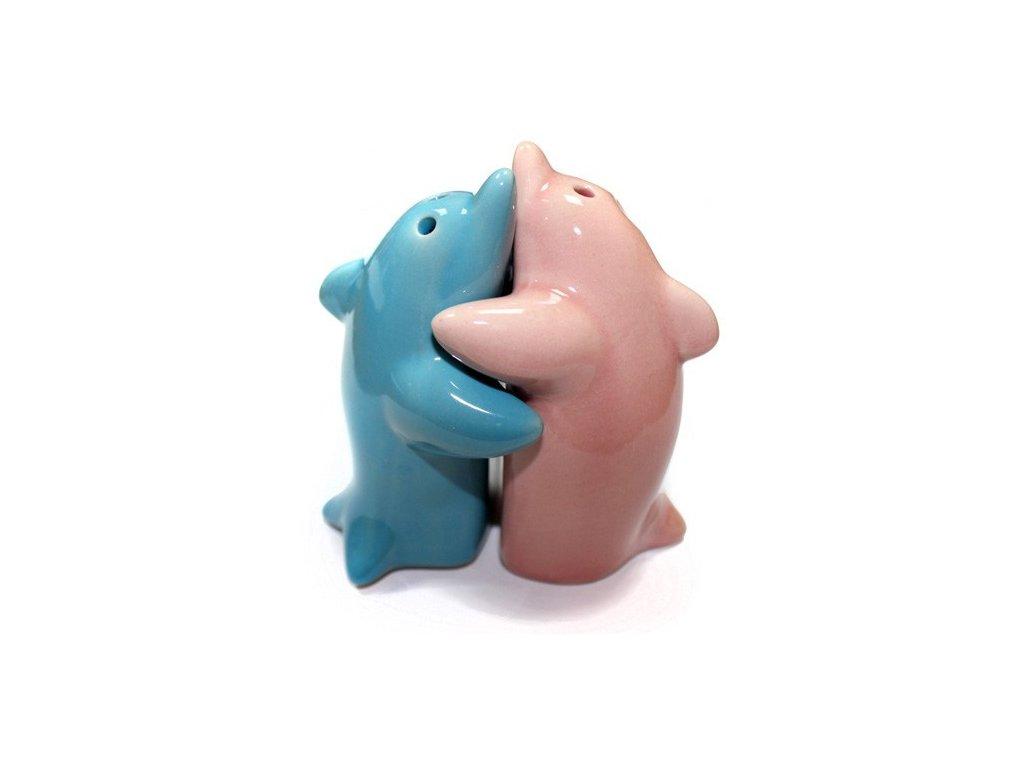 6x Solnička & Kořenka Objimající se Delfíni Růžová & Modrá