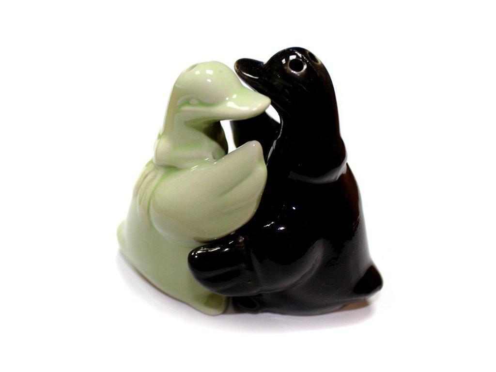 6x Solnička & Kořenka Objímající se Kachničky Černá & Zelená