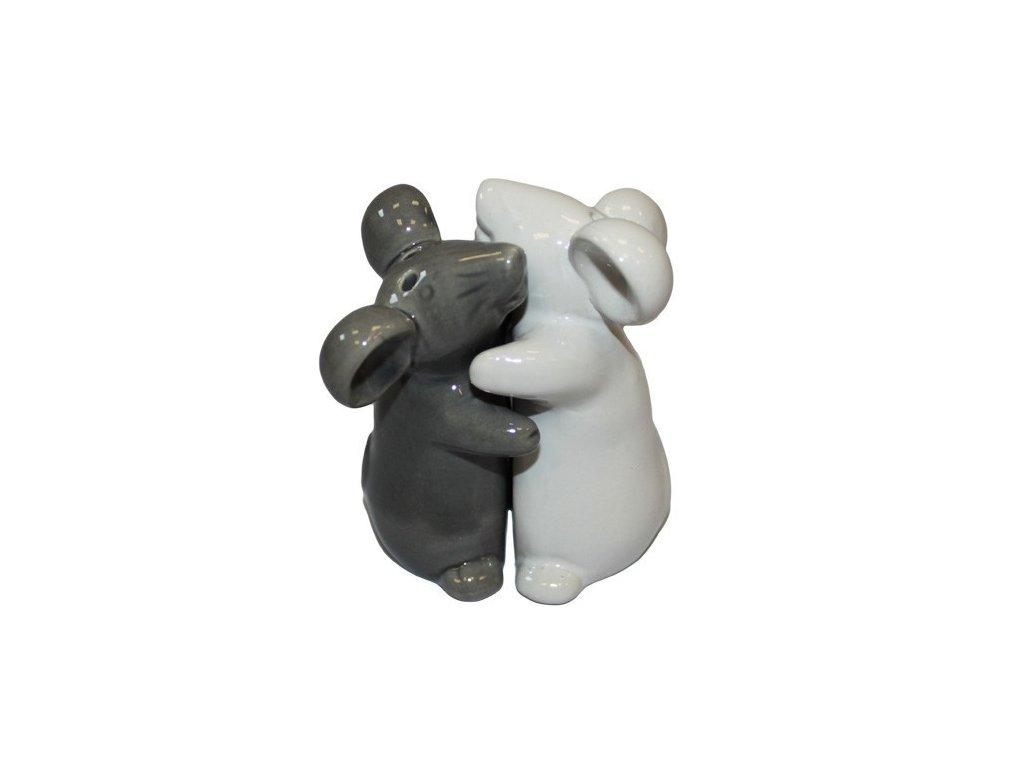 6x Solnička & Kořenka Objimajácí se Myšky Bílá & Černá